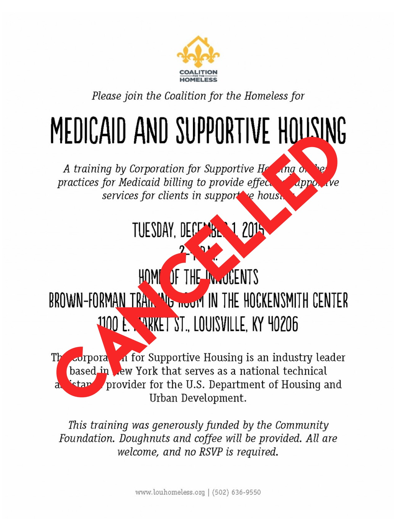 Cancelled Medicaid and Supportive Housing session