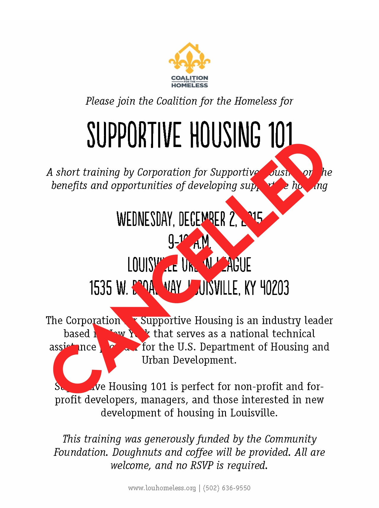 Cancelled supportive housing session
