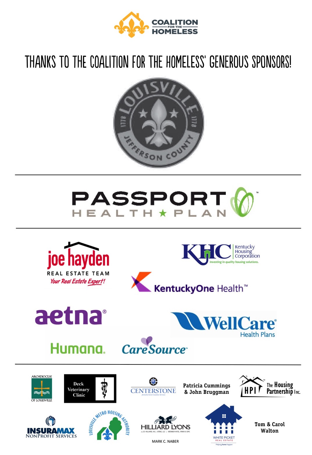 Coalition for the Homeless 2016-17 sponsors