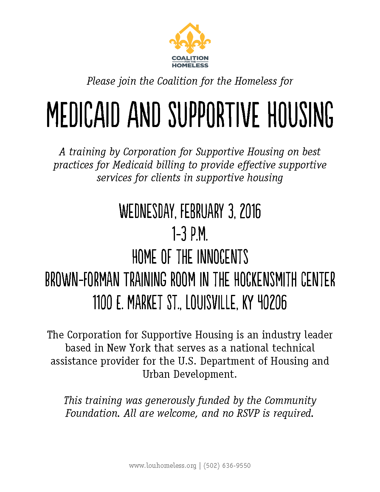 Medicaid and Supportive Housing - reschedule