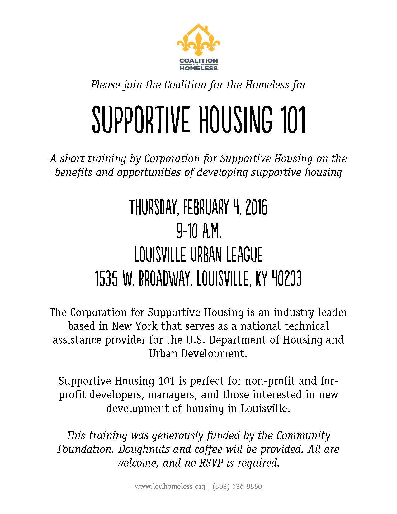 Supportive Housing 101 - reschedule